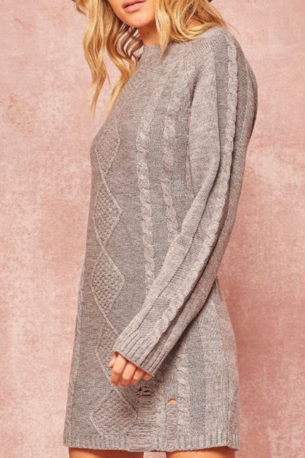 Promesa USA Cable Knit Sweater Dress - Back Cropped Image