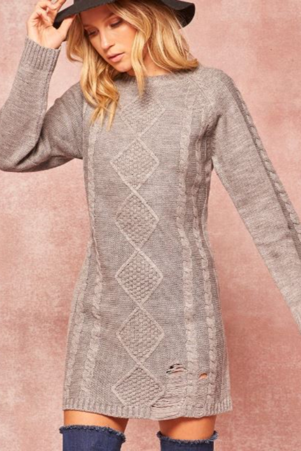 Promesa USA Cable Knit Sweater Dress - Side Cropped Image