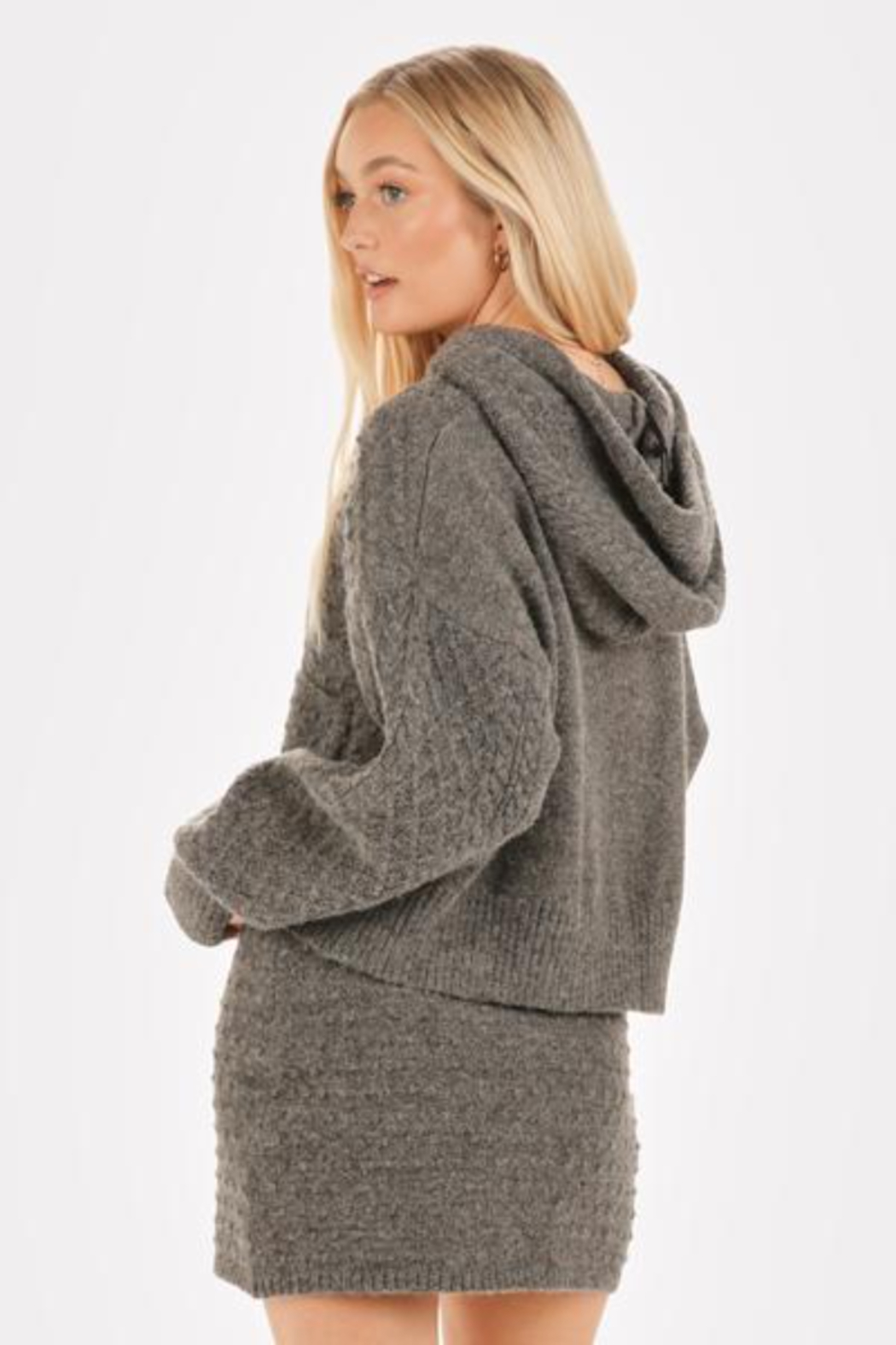 Very J  Cable Knit Sweater & Skirt Set - Back Cropped Image