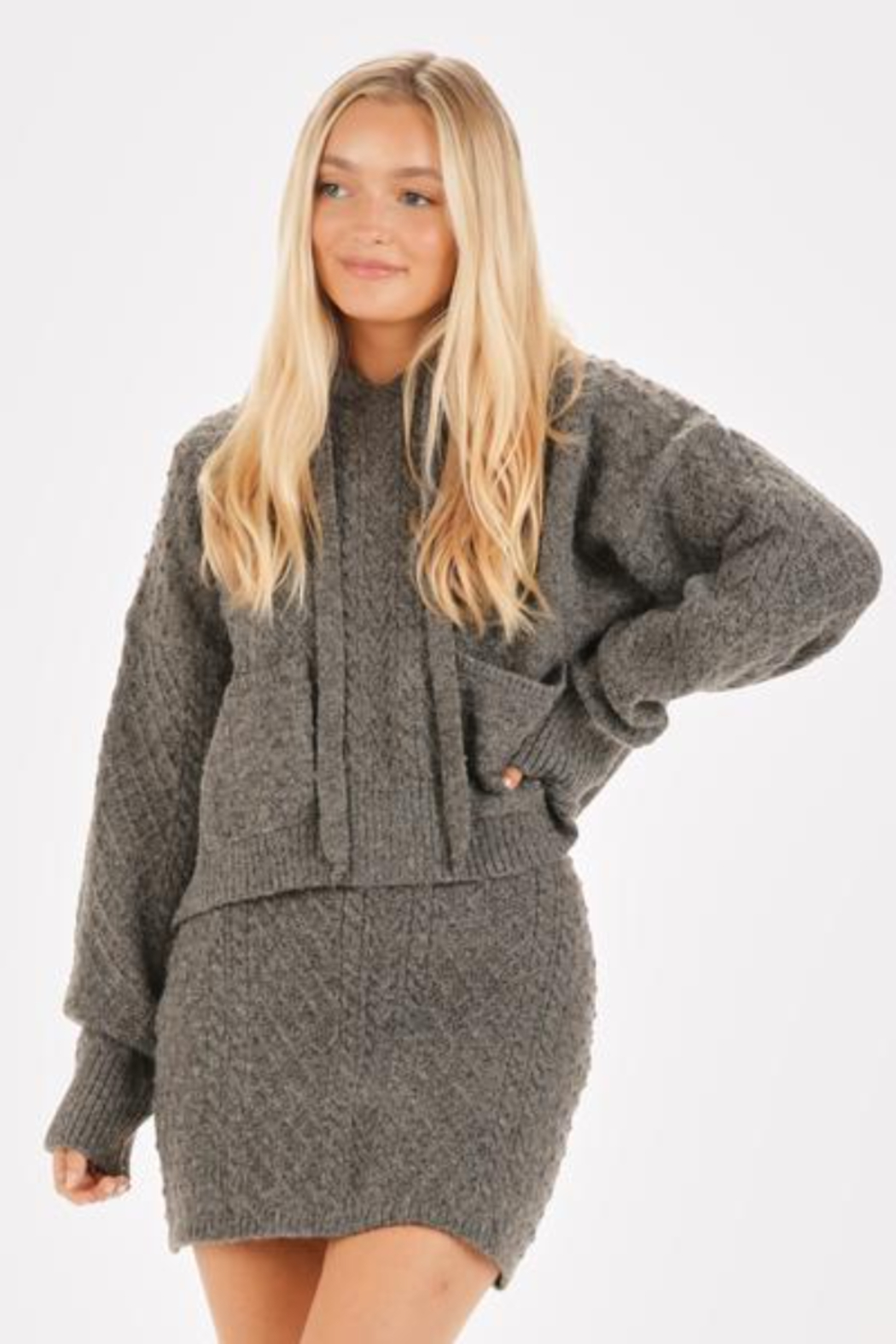 Very J  Cable Knit Sweater & Skirt Set - Front Full Image