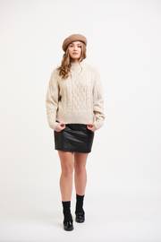 Black Tape/Dex Cable Knit Sweater with Pearls - Product Mini Image
