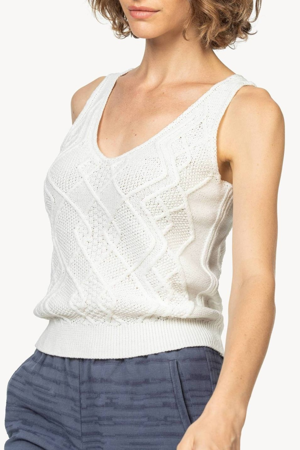Lilla P Cable Knit Tank - Front Full Image
