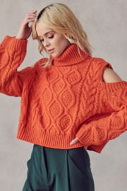 AAAAA FASHIONS Cable Knit Turtleneck Sweater - Product Mini Image