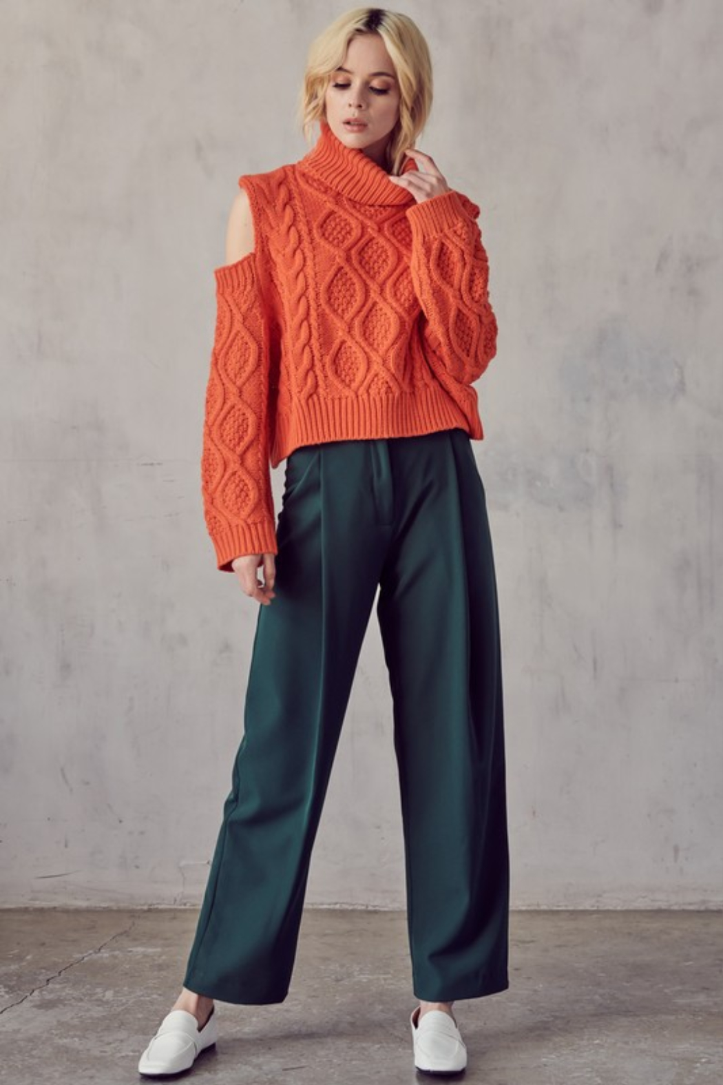 AAAAA FASHIONS Cable Knit Turtleneck - Front Full Image
