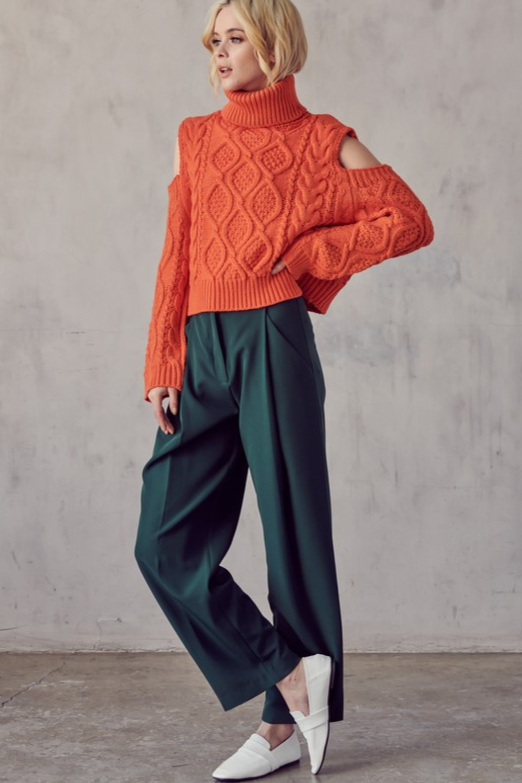 AAAAA FASHIONS Cable Knit Turtleneck - Side Cropped Image