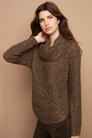 Charlie B. Cable Knit Turtleneck Speckle Sweater - Product Mini Image