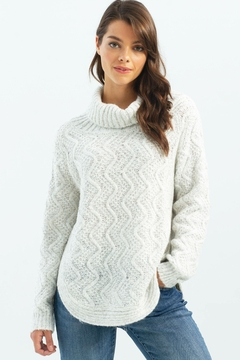 Charlie B. Cable Knit Turtleneck Sweater - Product List Image