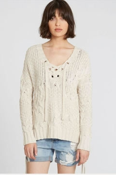 Autumn Cashmere Cable Lace-Up Sweater - Product List Image