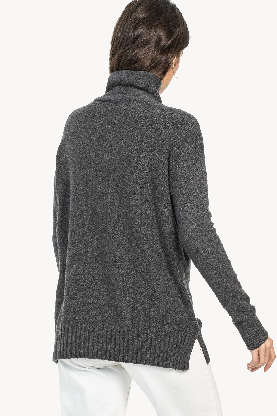Lilla P Cable Turtleneck Sweater - Front Full Image