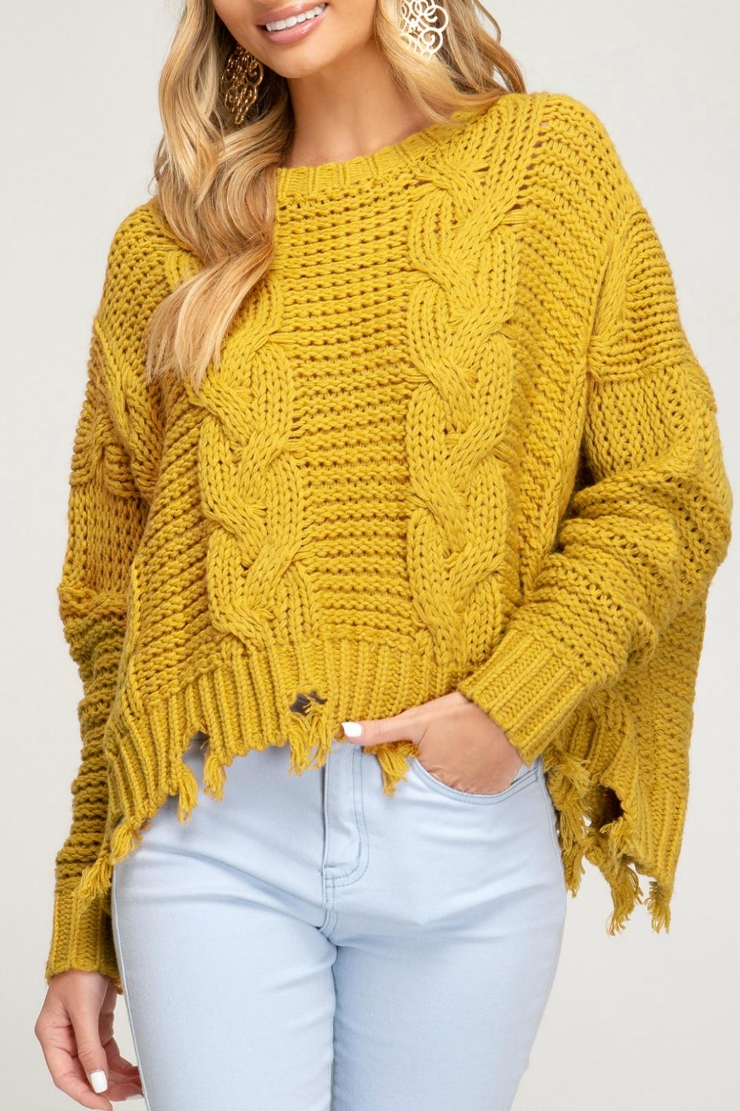 She + Sky Cableknit Distressed Sweater - Front Cropped Image