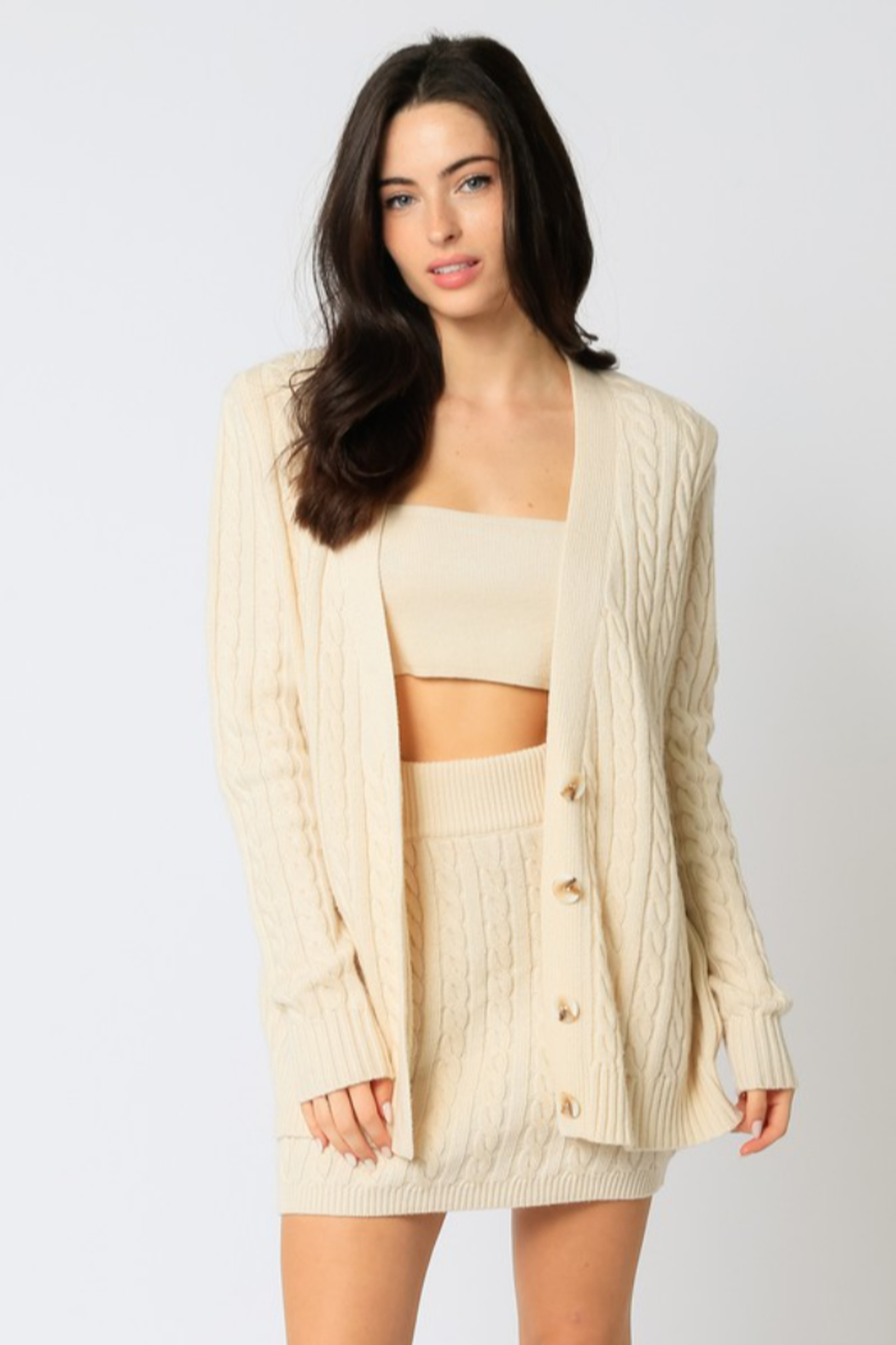 Olivaceous  Cableknit Sweater Cardigan - Main Image