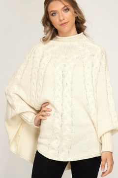 She + Sky Cableknit Sweater Poncho - Product List Image