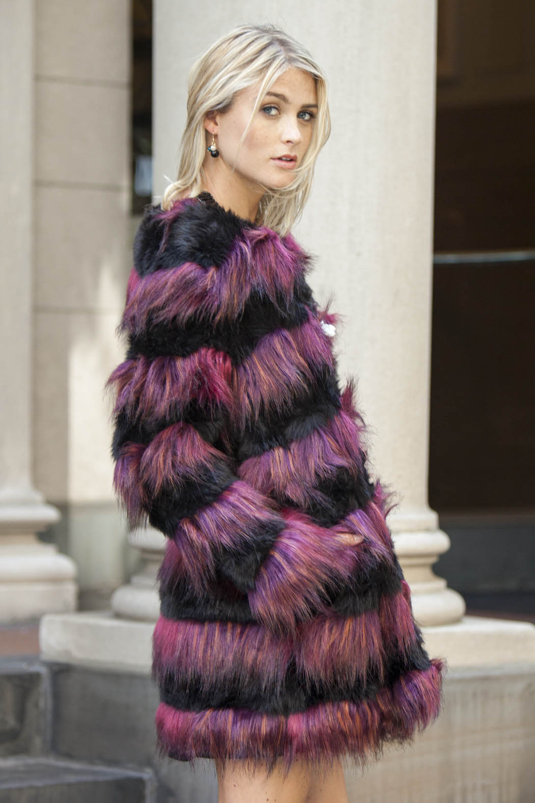Derhy Striped Fur Coat - Front Cropped Image