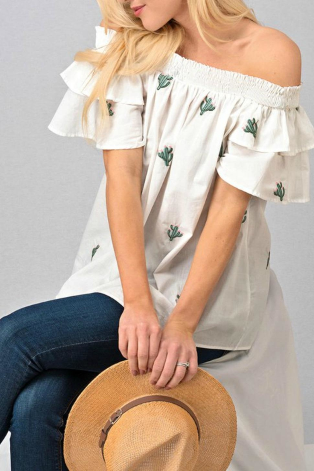 Modern Emporium Cactus Embroidered Smocked - Front Full Image