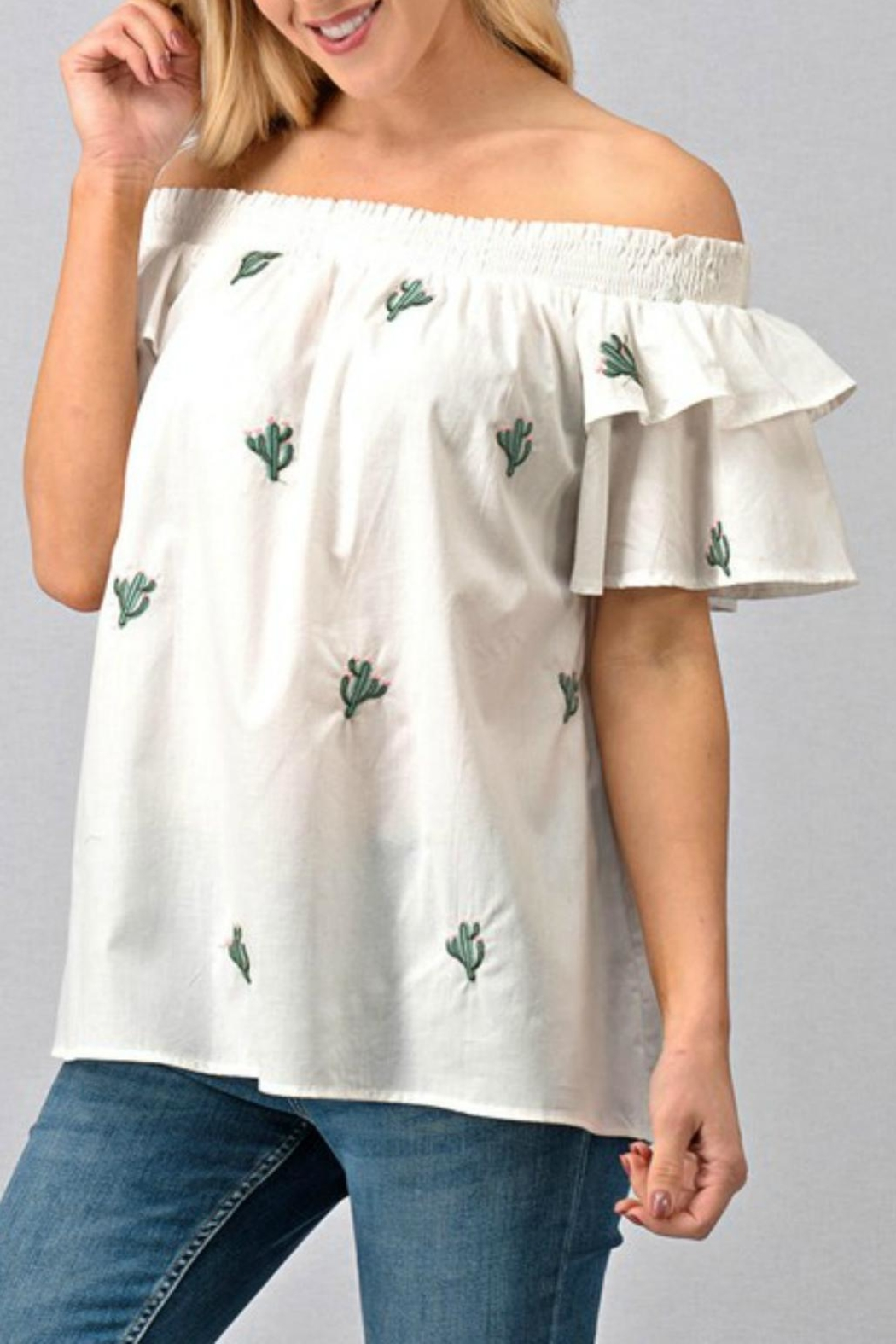 Modern Emporium Cactus Embroidered Smocked - Front Cropped Image