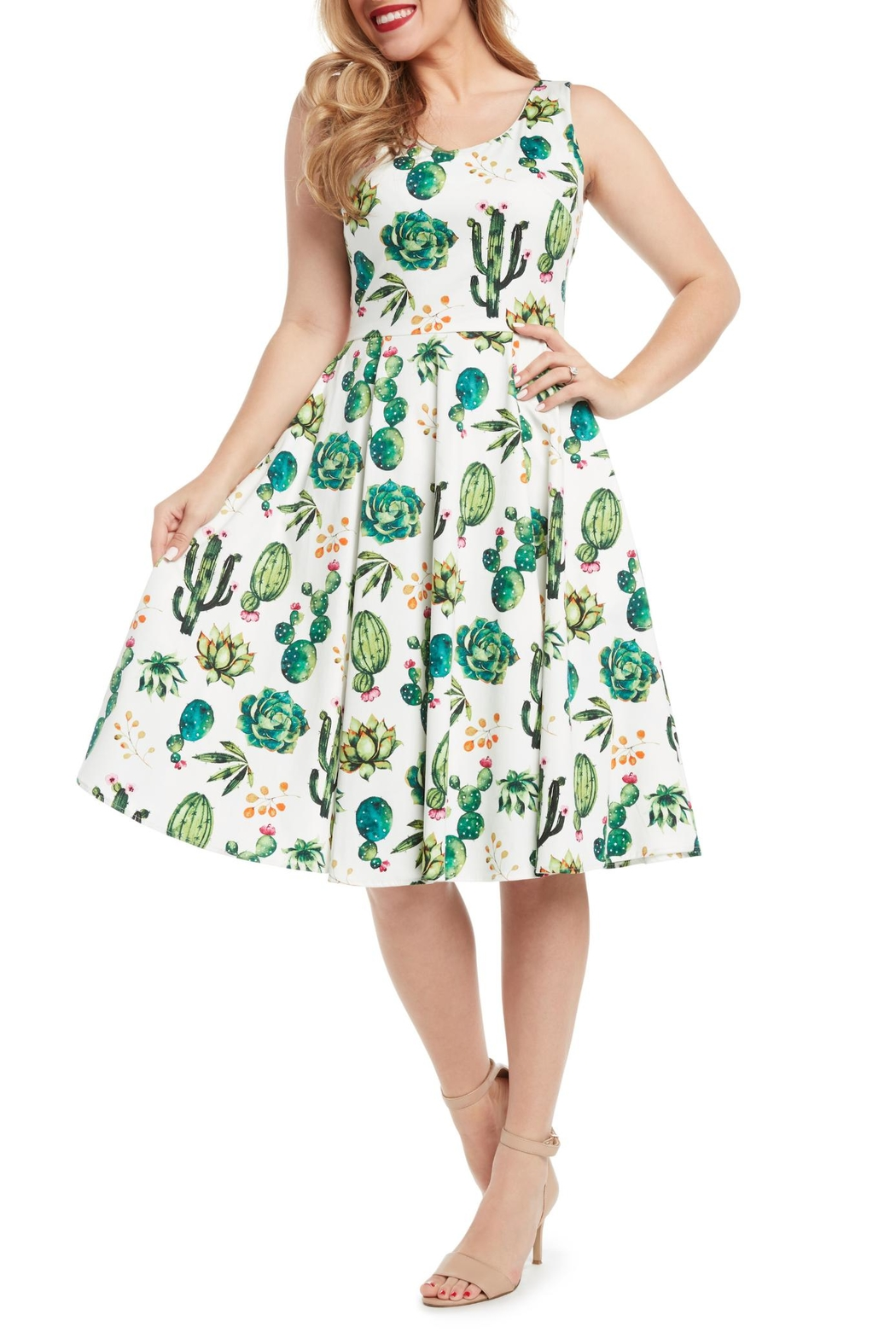 Eva Rose Cactus Fit-And-Flare Dress - Main Image