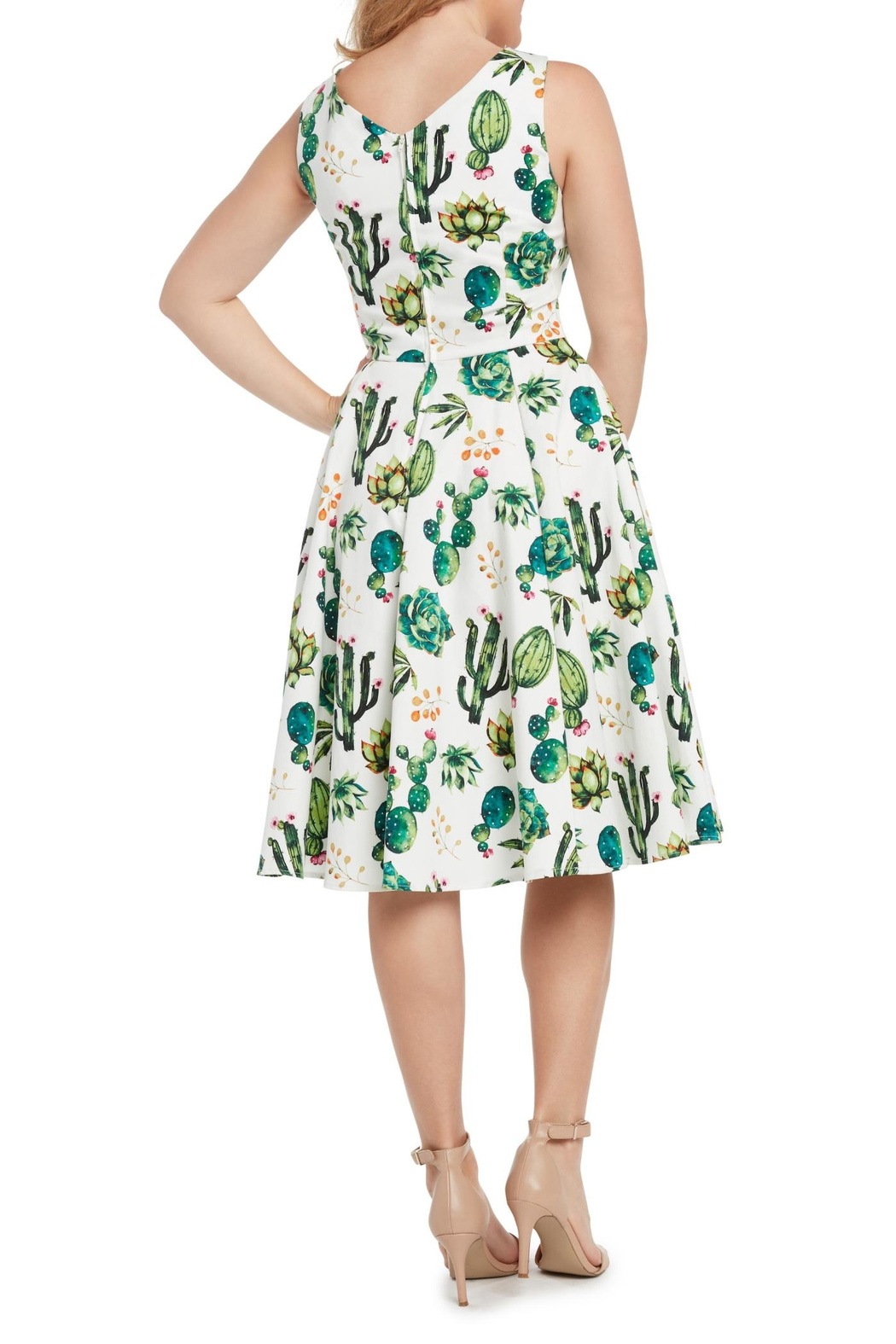 Eva Rose Cactus Fit-And-Flare Dress - Front Full Image