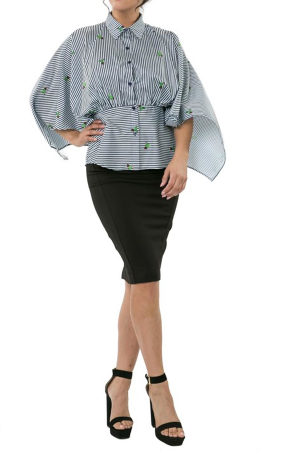 CQ By Caribbean Queen Cactus Stripe Top - Front Full Image