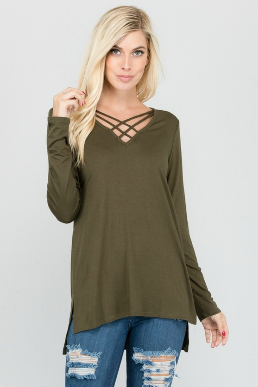 Apple B CAGE FRONT LONG SLEEVE - Front Cropped Image