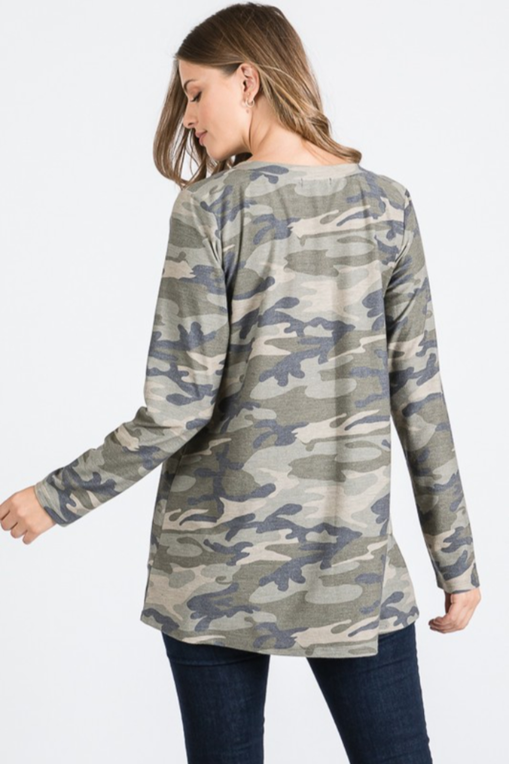 Heimish Caged V Neck Camo Top - Front Full Image