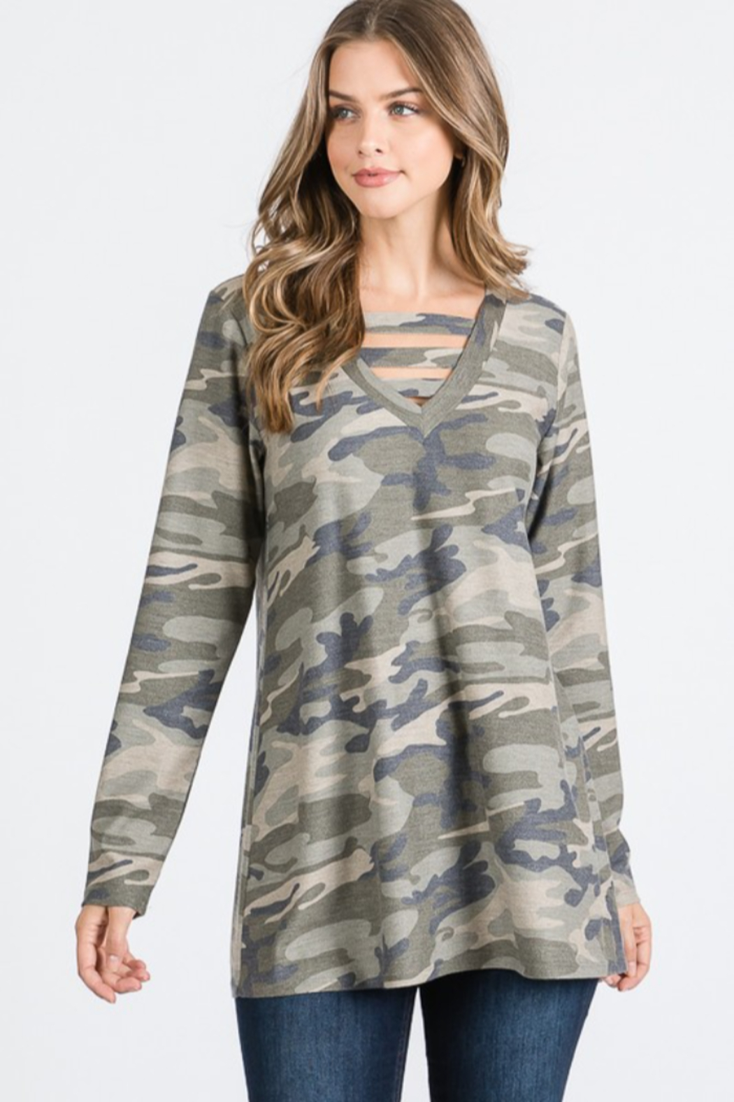 Heimish Caged V Neck Camo Top - Front Cropped Image