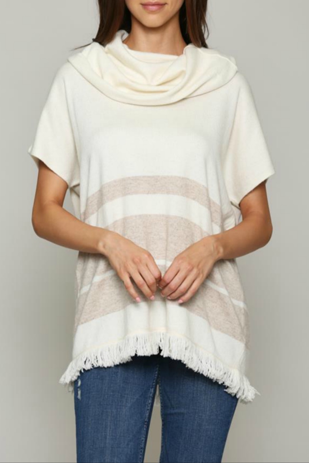 FATE by LFD Cahsmere striped poncho - Main Image