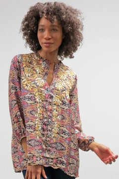 Caite & Kyla Abstract Embroidered Blouse - Alternate List Image