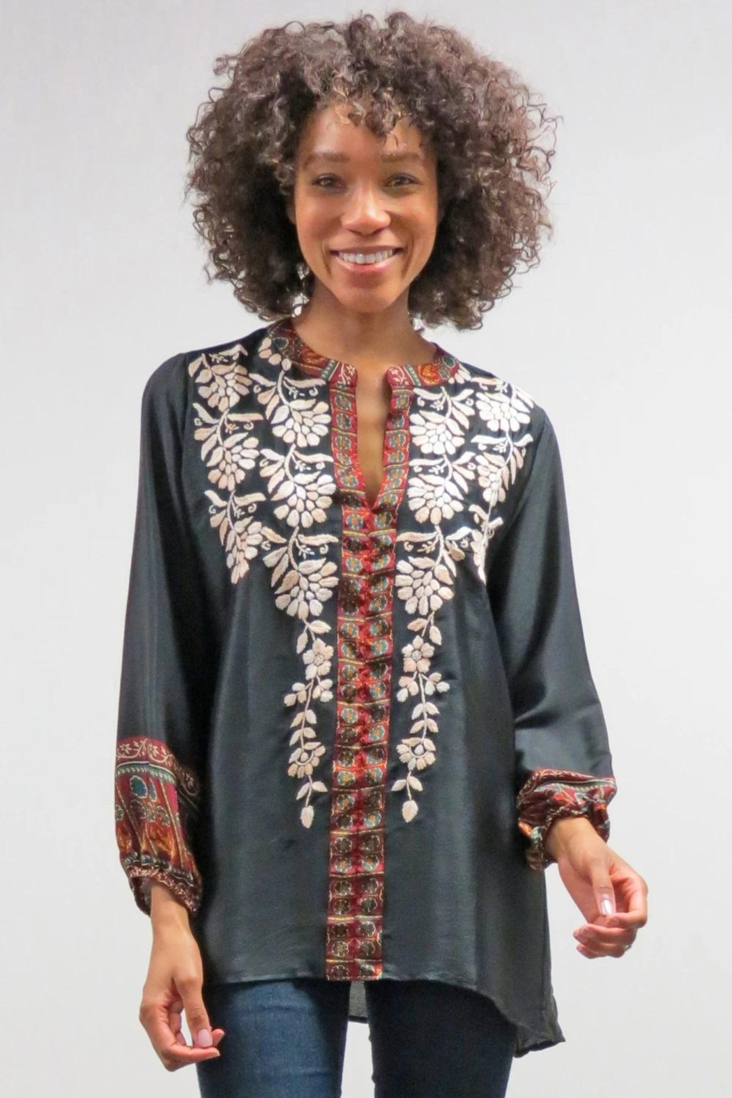 Caite & Kyla Embroidered Relaxed Blouse - Main Image