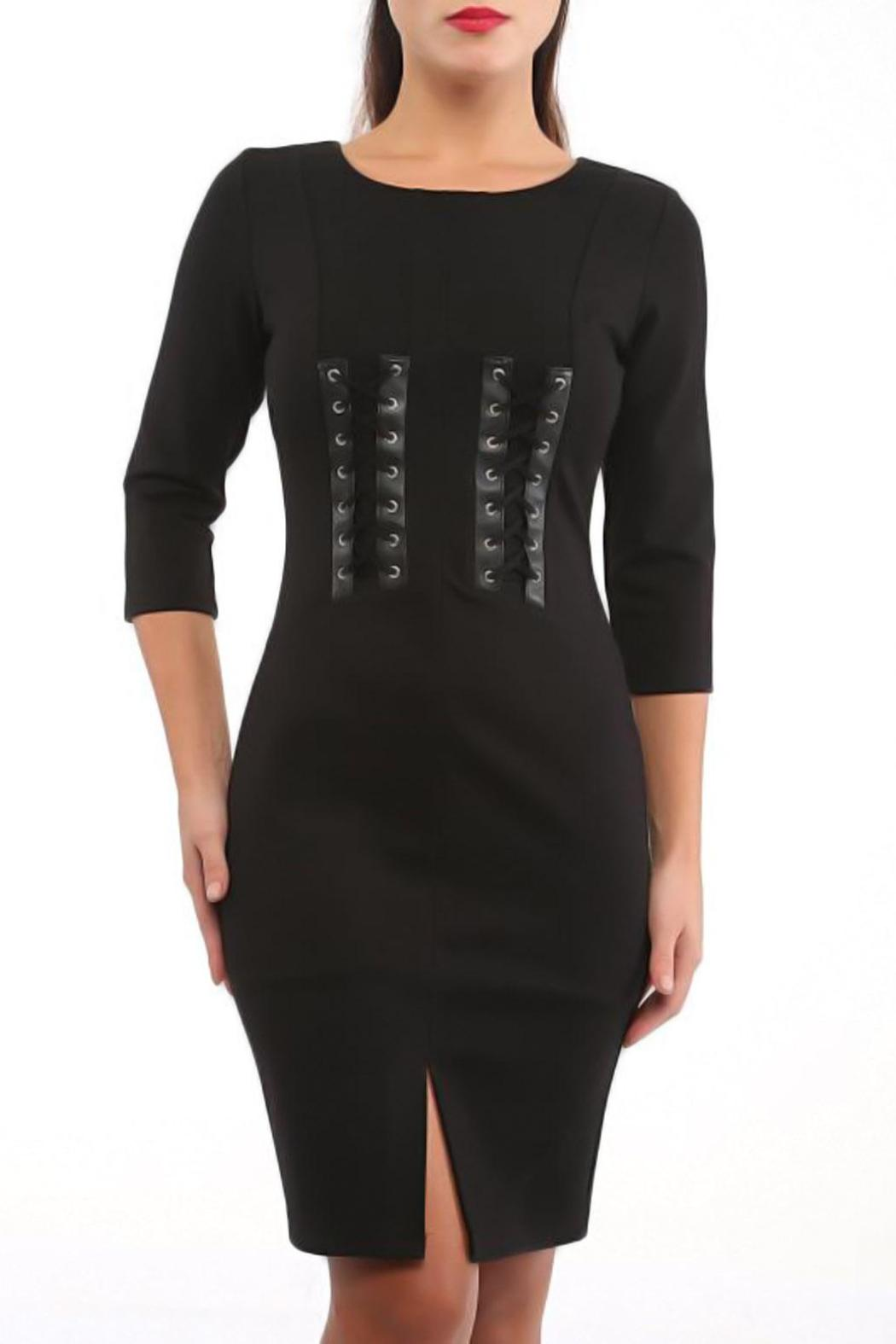 CALORE Fitted Black Dress - Main Image