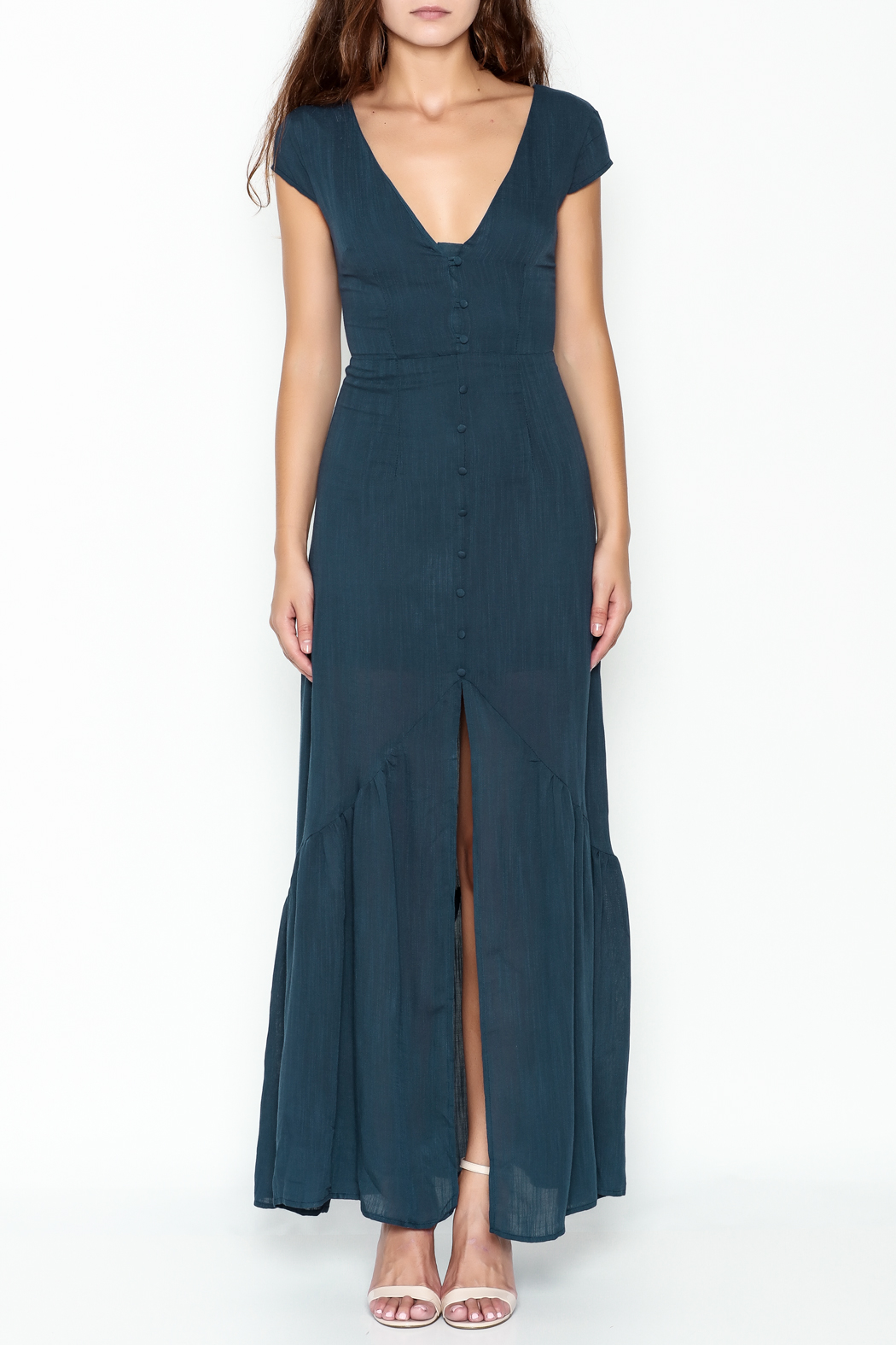 CALS Button Down Maxi Dress - Front Full Image