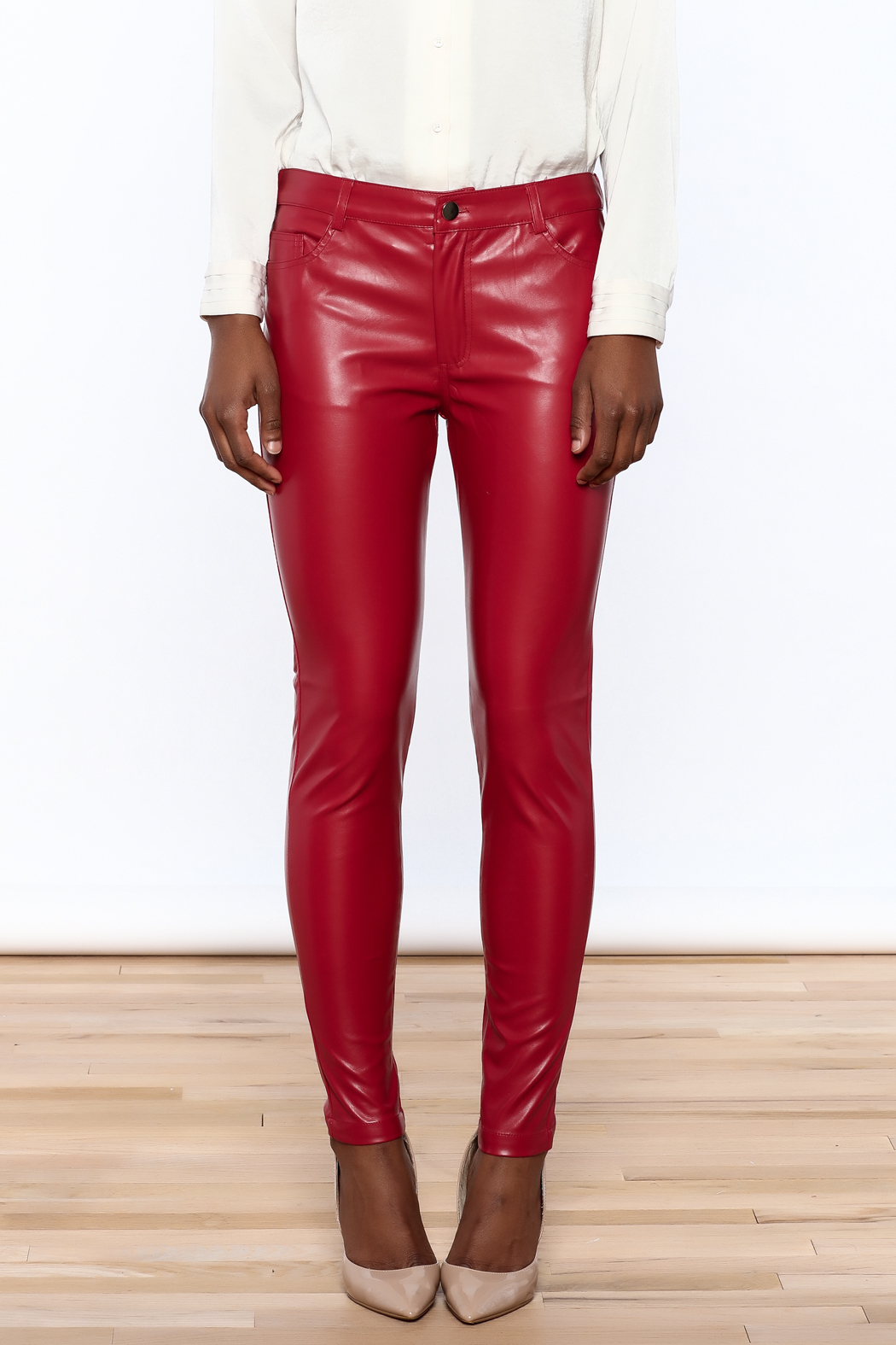 CALS Red Faux Leather Pants from California by YUNI — Shoptiques
