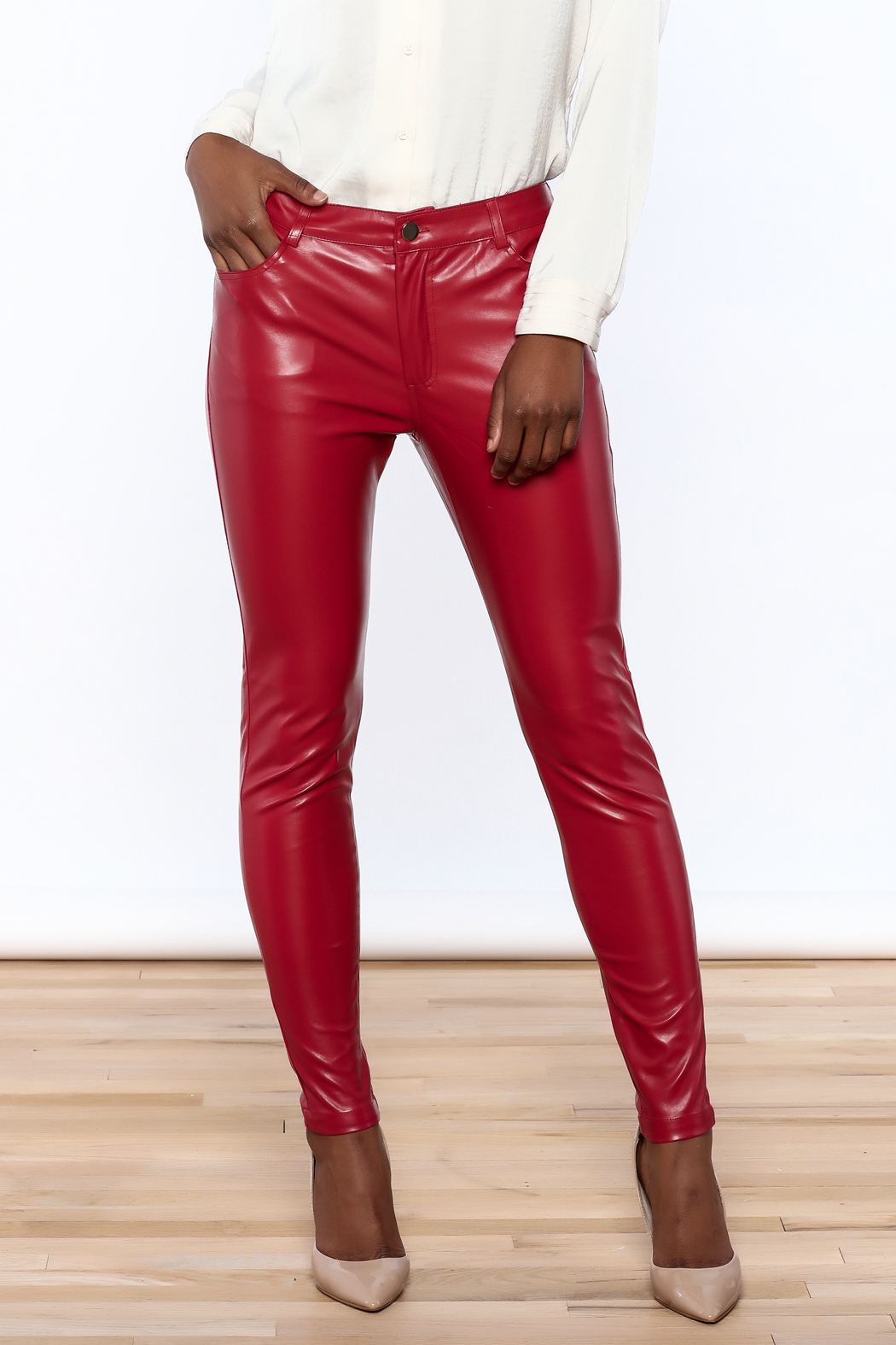 CALS Red Faux Leather Pants from California by YUNI ...