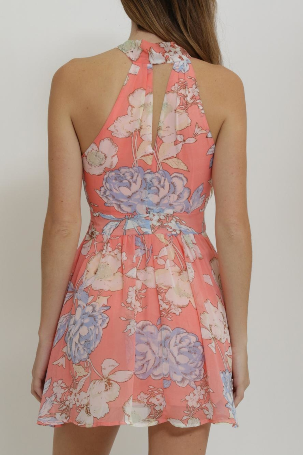 CALS Floral Chiffon Dress - Back Cropped Image
