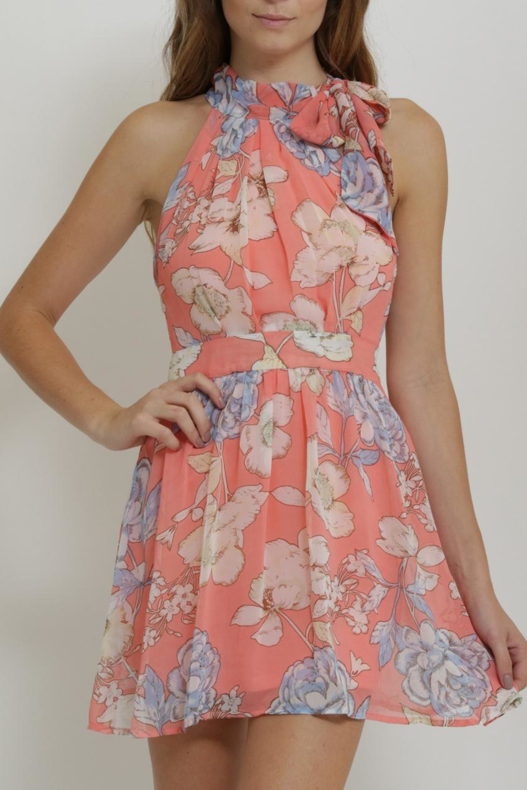 CALS Floral Chiffon Dress - Front Cropped Image
