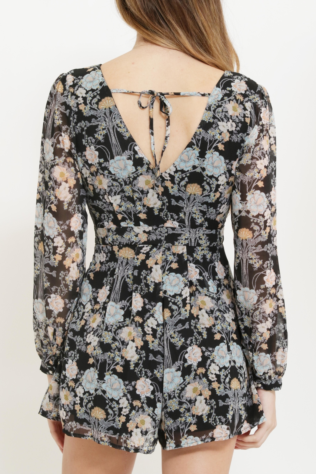 CALS Floral Chiffon Romper - Back Cropped Image