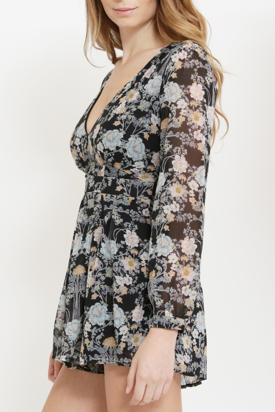 CALS Floral Chiffon Romper - Side Cropped Image