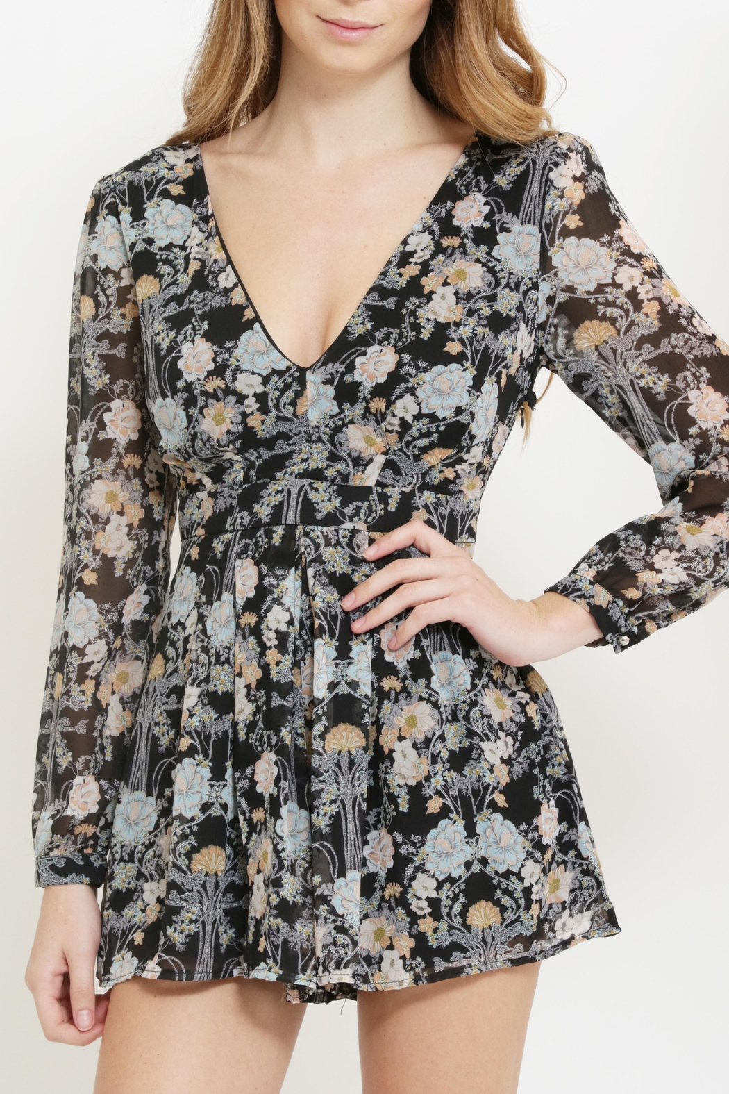 CALS Floral Chiffon Romper - Front Full Image