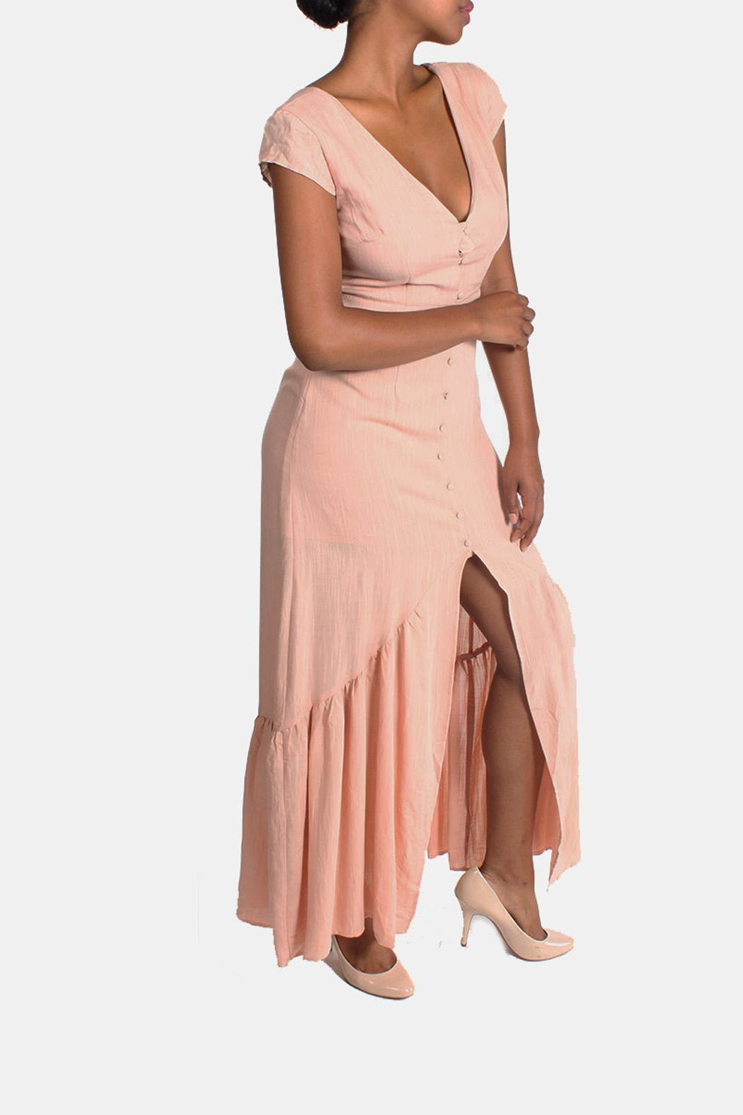 CALS Button Down Maxi Dress - Front Cropped Image
