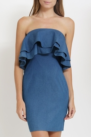 CALS Ruffle Denim Dress - Front cropped