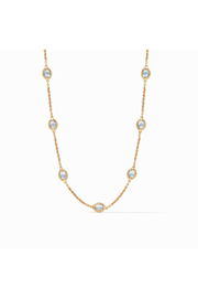 Julie Vos Calypso Demi Delicate Station Necklace-Gold/Chalcedony Blue - Product Mini Image