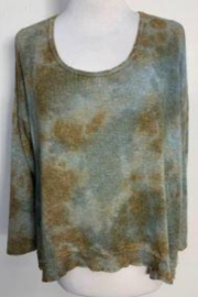 T Party Camel Brown and Teal Dyed Knit Top - Product Mini Image