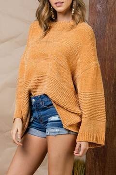 Main Strip Camel Chenille Sweater - Product List Image