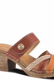 Patrizia by Spring Step Camel color slide sandal featuring a beautiful criss cross toe band - Product Mini Image