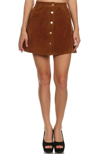 36 Point 5 Camel Faux Suede Skirt From Wilmington By The