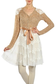 The Vintage Valet Camel Lace Cardigan - Product List Image
