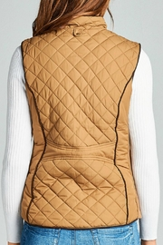Active Basic Camel Quilted Vest - Front full body