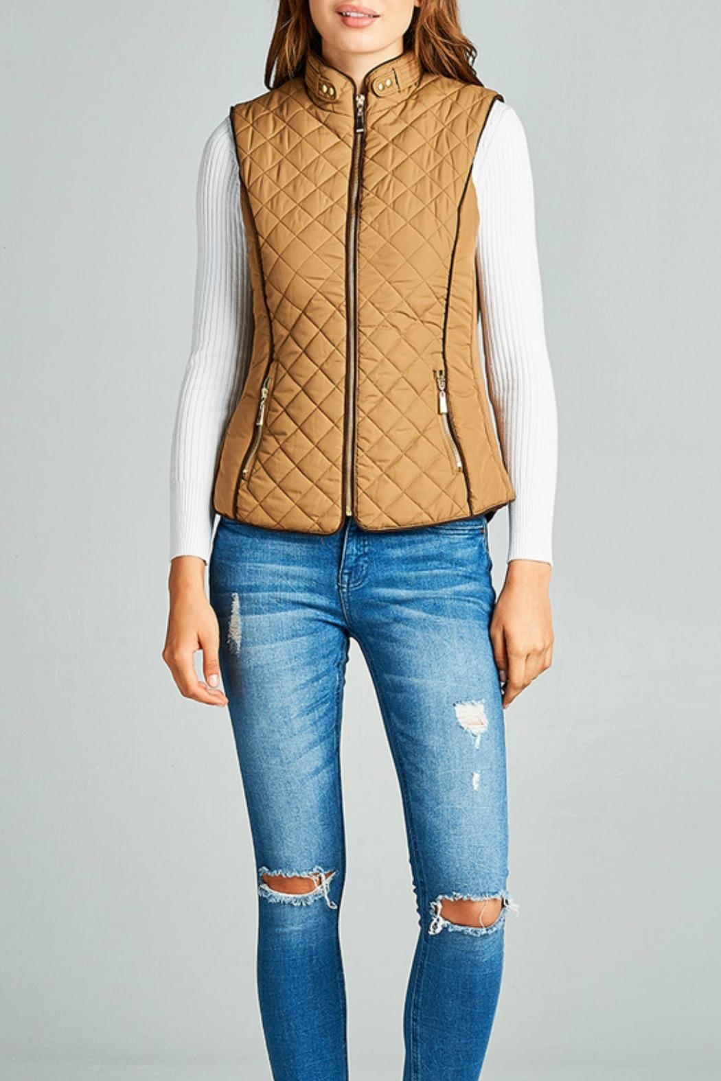 Active Basic Camel Quilted Vest - Main Image
