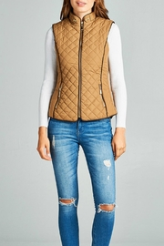 Active Basic Camel Quilted Vest - Front cropped