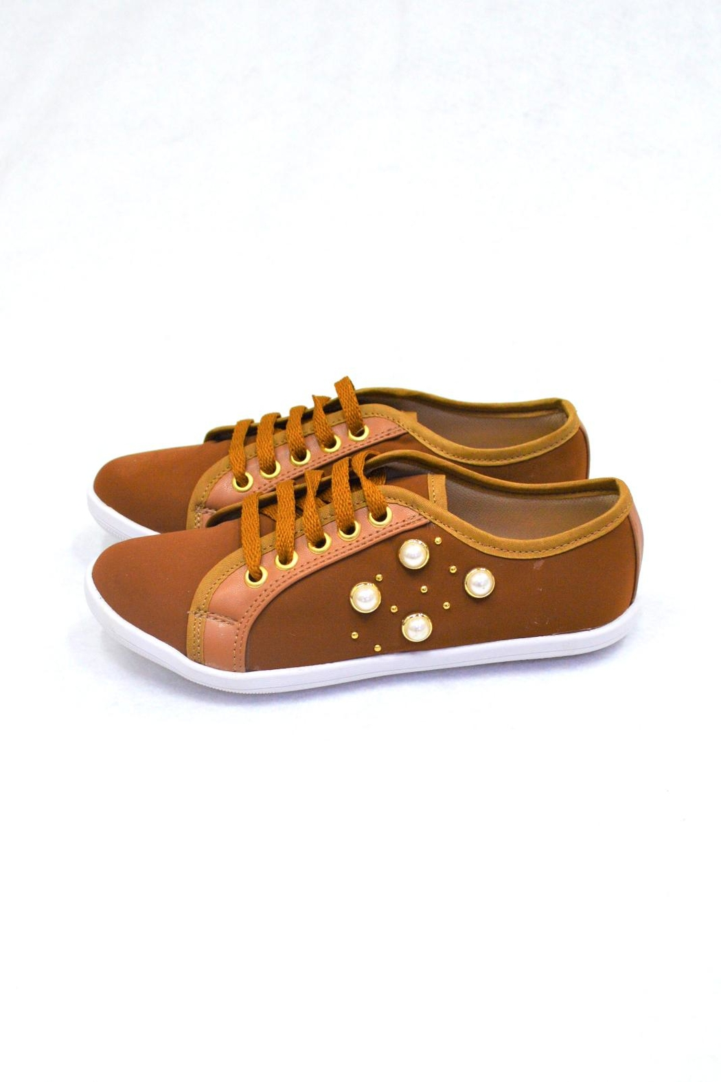 SD BOUTIQUE Camel Sneakers Shoe - Front Full Image