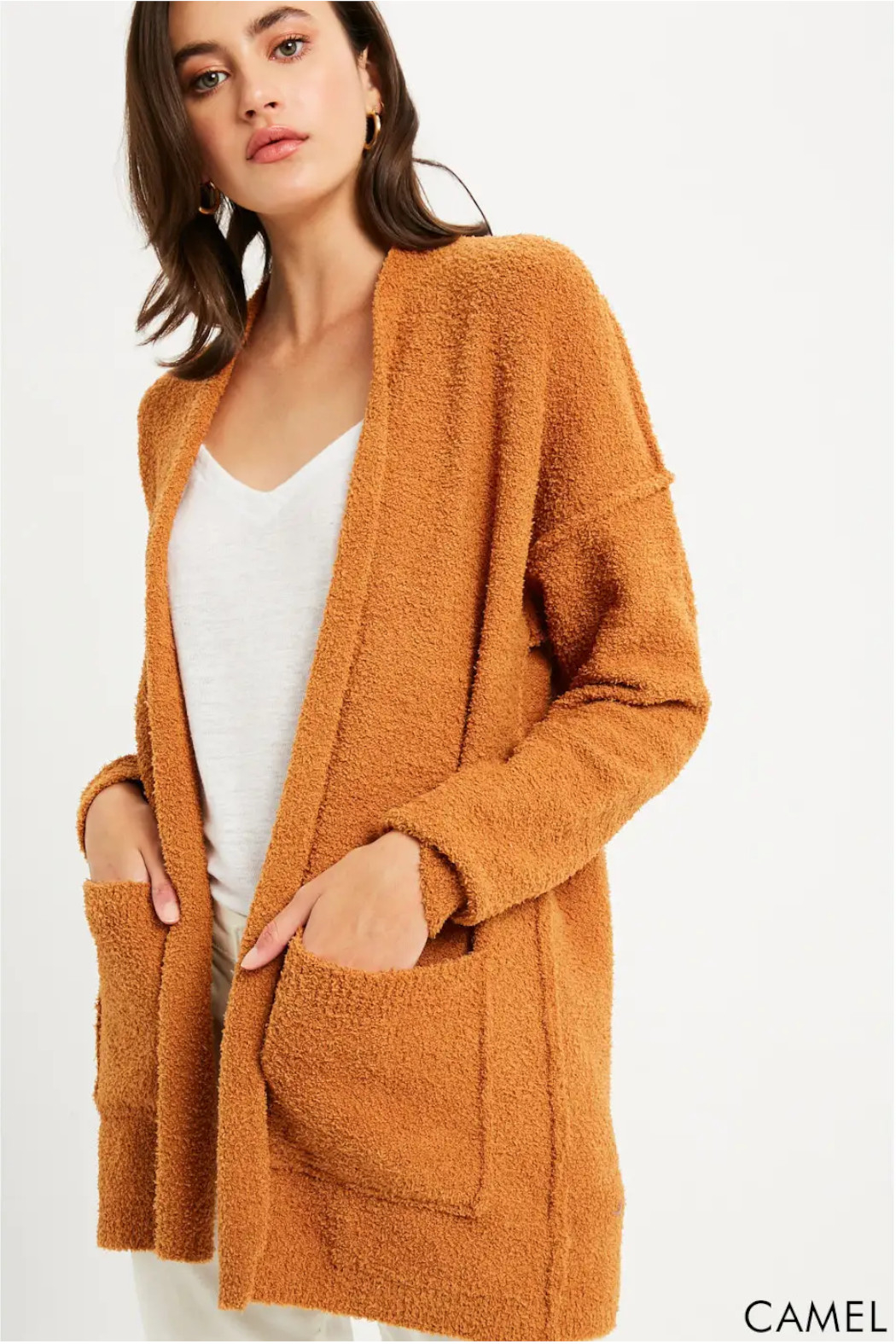 Bluivy Camel Soft Cardigan - Side Cropped Image